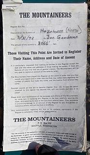 Hozomeen summit register