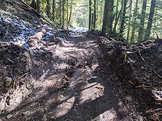 The avalanche debris 1/4 mile before Dingford trailhead is looking really dirty now and was easy to drive over. No ruts are forming. A work party from Goldmyer partially dug this out last Saturday. It came down on 02/22.