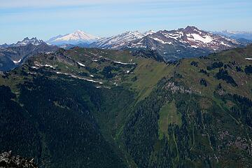 Chaval, Baker, Snowking, and Bucking viewed over the top of Downey – the different colors and shapes really show of the geological diversity of the Cascades
