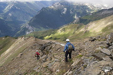 Yukon and Dicey head down the ridge