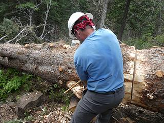 8. DonH chopping out a stob