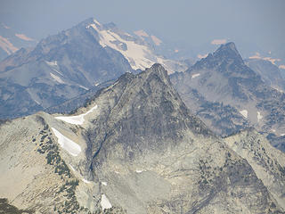 McAlester summit ridge. The true summit is a sharp pinnacle that blends into the front, but which is higher and distinct from erosion.