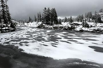 Drifting snow on ice.