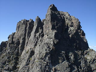 A view of the Middle Peak from the traverse.