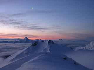 Icy Peak and the moon