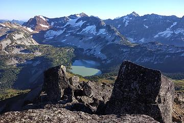 Summit view down to Lower Lyman Lake, backed by Red, Chiwawa, and Fortress