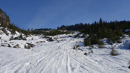 Looking up the open gully