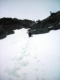 just below the snow ramp and rock shelf we tried