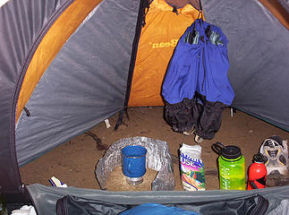 Dinner cooked and ate inside my tent.