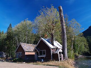 Old cabins and trimmed tree.
