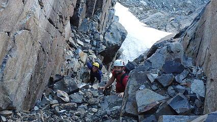 Scrambling up the narrow gully