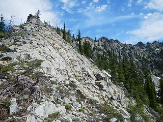 on the right you can see the scramble ridge between the west and central peaks of Davis