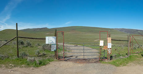 Temporary closure at gate, .7 mile road walk from the actual trailhead