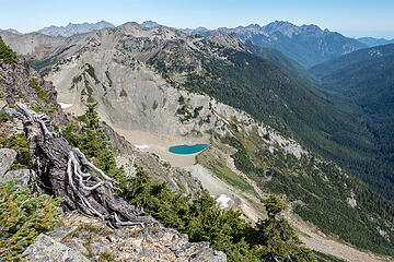 east peak and hanging glacier lake, diamond beyond