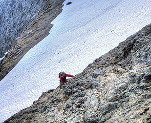 Steep but solid scrambling up the NNW ridge