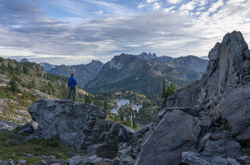 Looking out at Rampart Lakes