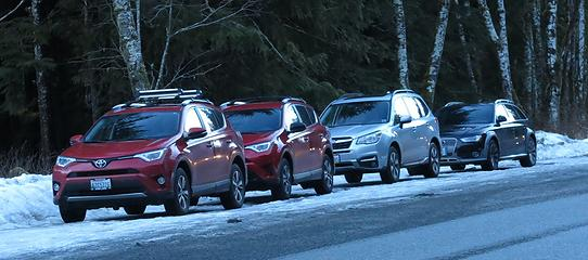 Only half of us got the memo that red Rav4's were required