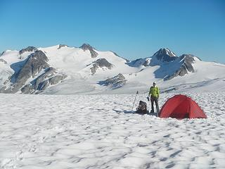 camping on the icecap with Golden Calf Peak in the distance