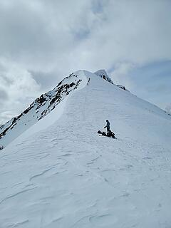 My peeps descending the ridge. The two skiers getting ready to go up.