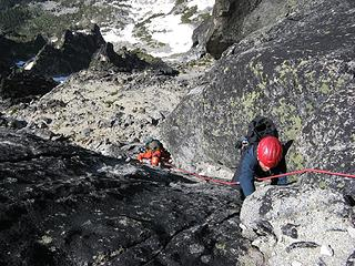 Ascending south side gully