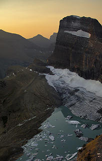 In the magazine, National Geographic has a very dramatic version of this 2005 photo of Grinnell Glacier in Glacier National Park.