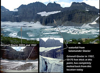 This collage from the net compares 2004 with 1957 ........ when there was no lake.