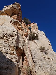 Rappelling the 5.7 pitch