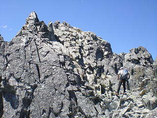 Looking up to the summit of N Index.