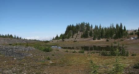 Plateau lake, clouds at bay