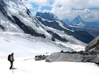 Breithorn And Matterhorn Seen From Between First And Second Icefall On Grenz Glacier