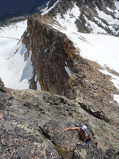 Josh climbing the crux