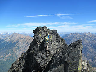Jake back at the short class 4 crux on the ridge