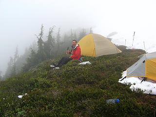 Cloudbound at Pickell Pass, with tea
