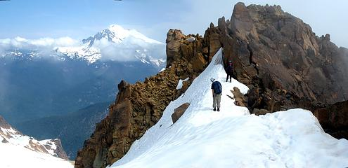 looking at the summit of north twin sister