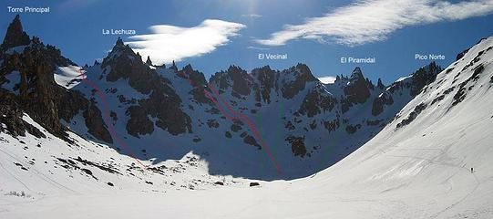 great corn skiing in several couloirs above Refugio Frey