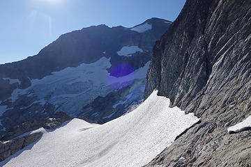 We traversed this snow patch around the corner. Dark Peak is at the top of the photo.