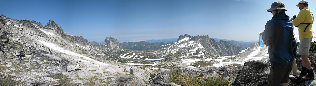 Looking down on the Enchantments from a ridge above Enchantment Plateau