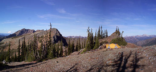 Rainier, Hawkins and camp. My four season L.L. Bean Mountain Guide tent completes this picture.  I love my tent.