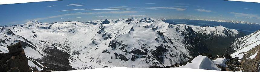 view from pico norte   Tronodor top left   Lago Nahuel Huapi on right