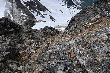 looking down the class 3 gully