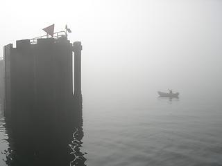 Lone fisherman at beginning of Kingston ferry ride
