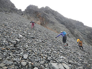 steep crappy scree and talus