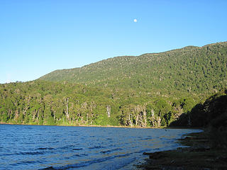 Lago Lolog from the beach near the first refugio