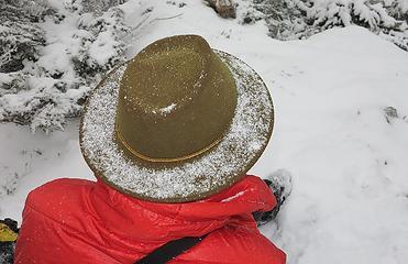 Snow accumulation on Gabriel's hat