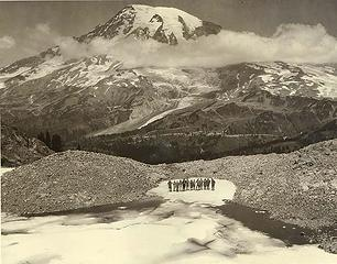 Group of Mountaineers at the base of the Pinnacle Glacier in 1925.