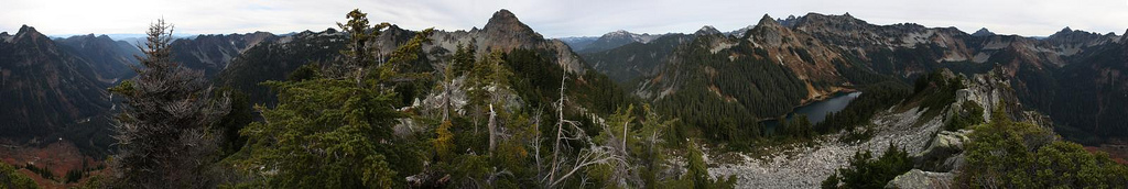 Full pano view from the summit of Alaska Mt