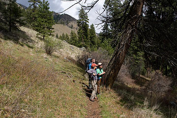 Hikers take a break along the West Fork Rapid River Trail, Seven Devils Mountains, Idaho.