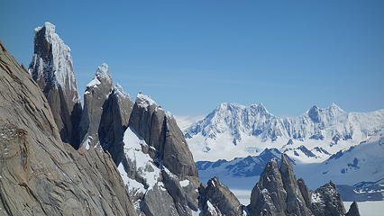 Cerro Torre on the left, with huge mountains behind