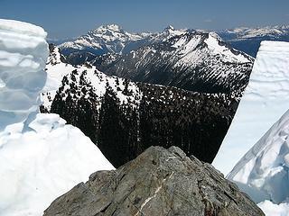 Looking through broken Gabriel cornice (Tarheel-Elija ridge, Beebe, Crater, Jack)