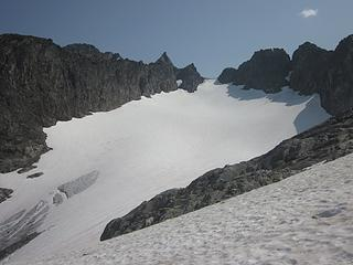 First view of Cache Col and the Cache Glacier